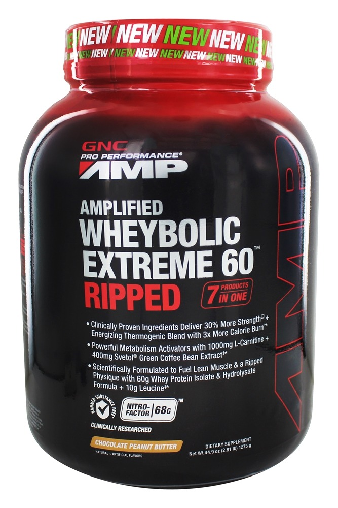GNC - Pro Performance AMP Amplified Wheybolic Extreme 60 Ripped Chocolate Peanut Butter - 2.81 lbs.