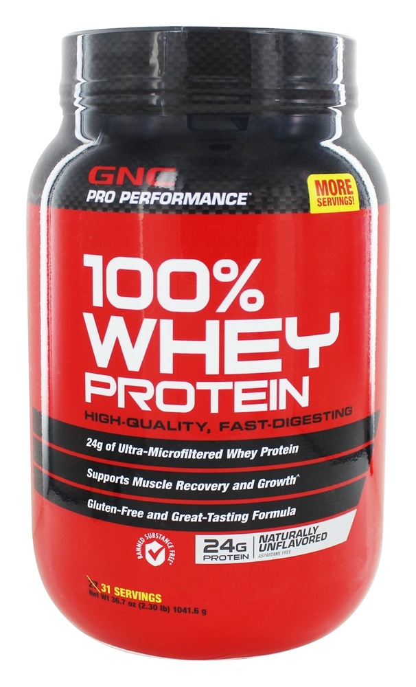 GNC - Pro Performance 100% Whey Protein Naturally Unflavored - 2.3 lbs.