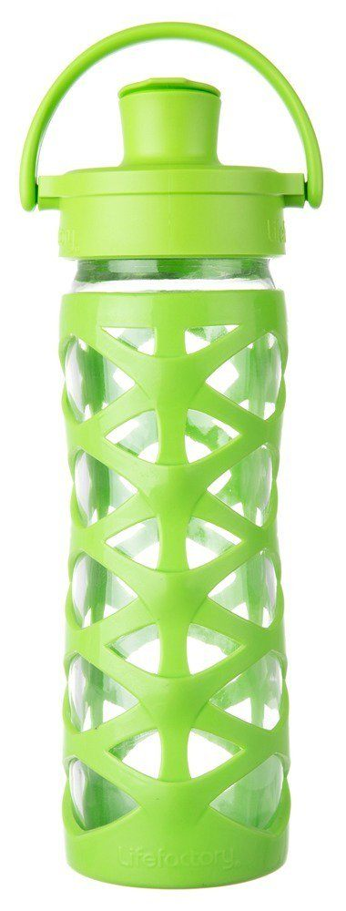 Lifefactory - Glass Bottle with Active Flip Cap and Silicon Sleeve Lime - 16 oz.