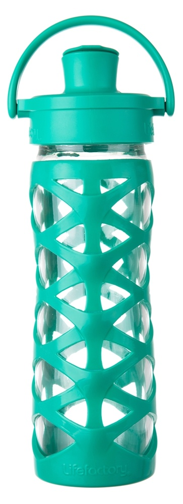 Lifefactory - Glass Bottle with Active Flip Cap and Silicon Sleeve Aquatic Green - 16 oz.