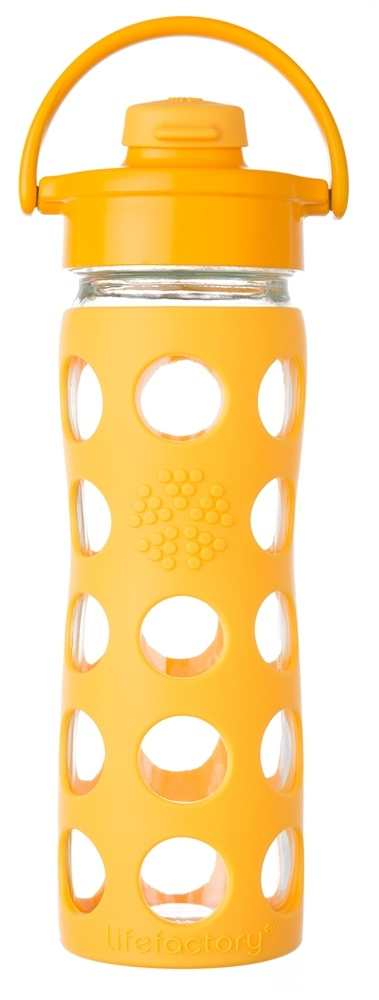 Lifefactory - Glass Bottle with Flip Cap and Silicone Sleeve Collegiate Yellow - 16 oz.