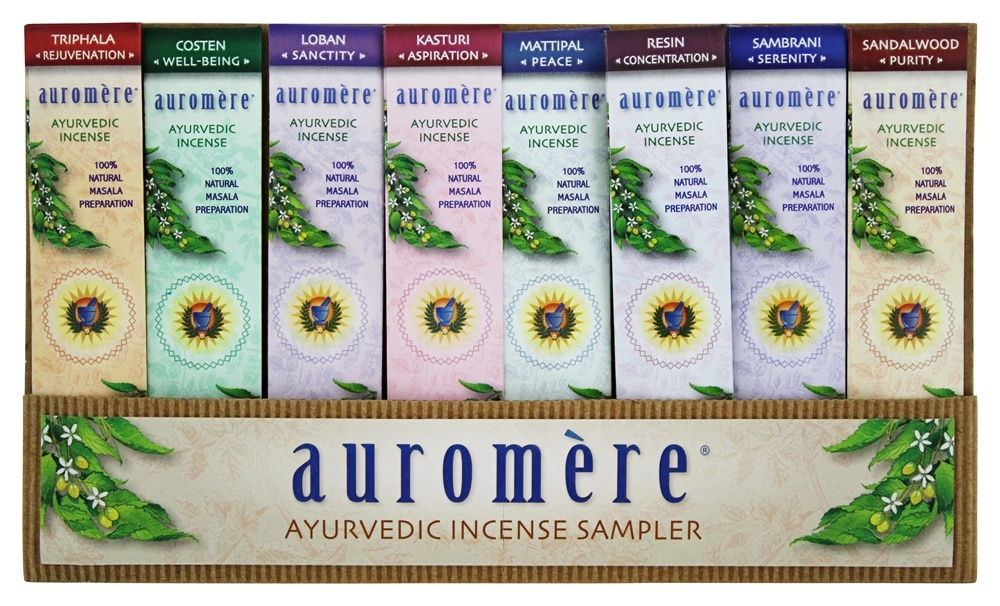 Auromere - Ayurvedic Incense Sampler - 8 Pack