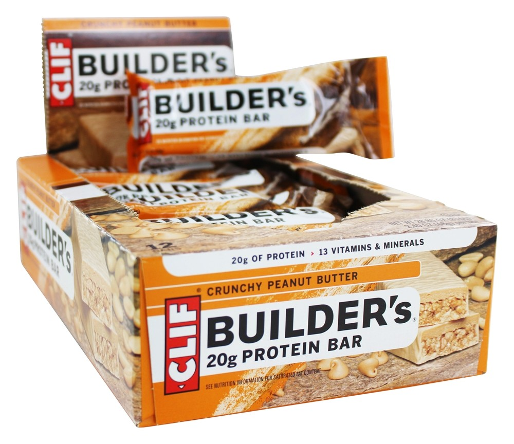 Clif Bar - Builder's Protein Bars Box Crunchy Peanut Butter - 12 Bars