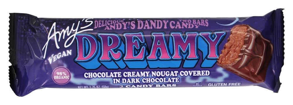 Amy's - Organic Andy Dandy's Candy Dreamy Bar Chocolate Creamy Nougat Covered in Dark Chocolate - 1.75 oz.