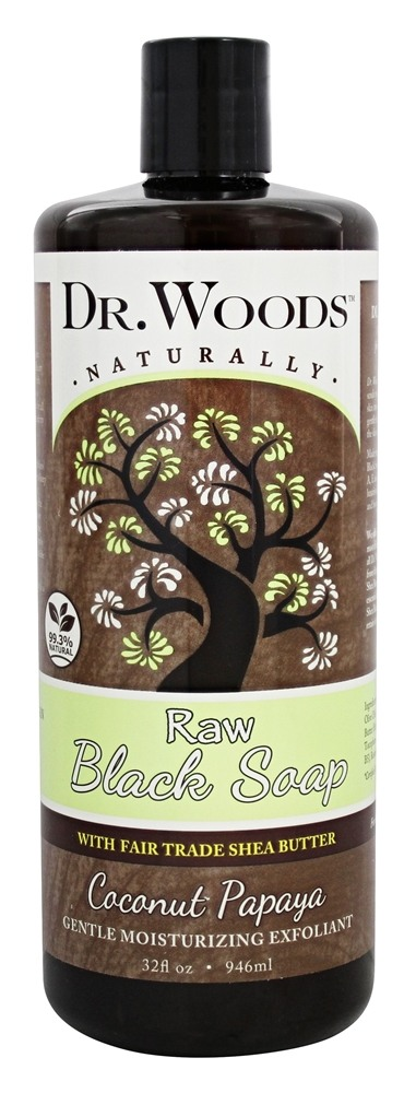 Dr. Woods - Raw Black Soap Gentle Moisturizing Exfoliant with Shea Butter Coconut Papaya - 32 oz.