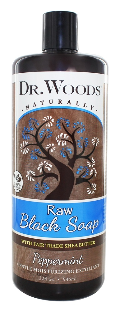 Dr. Woods - Raw Black Soap Gentle Moisturizing Exfoliant Peppermint - 32 oz.