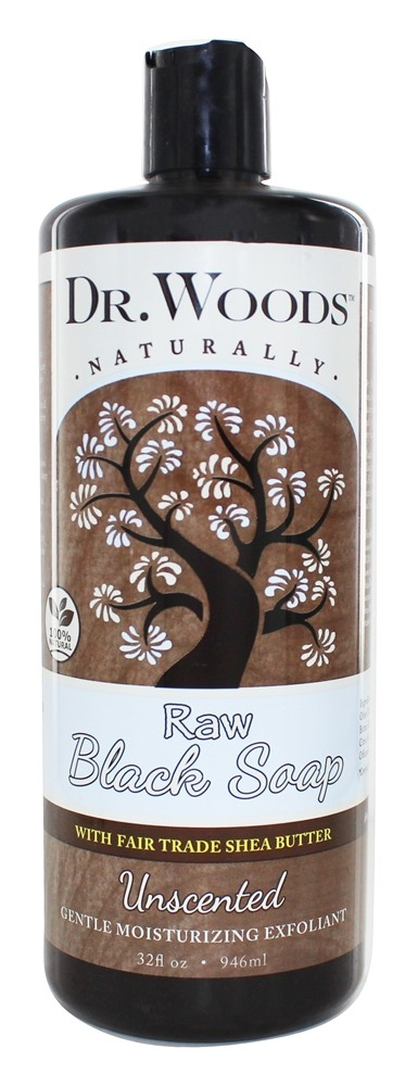 Dr. Woods - Raw Black Soap Gentle Moisturizing Exfoliant Unscented - 32 oz.