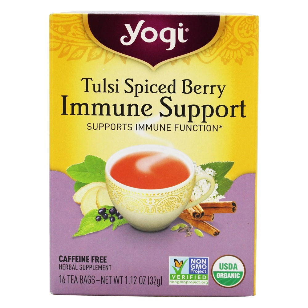 Yogi Tea - Organic Immune Support Tea Tulsi Spiced Berry - 16 Tea Bags