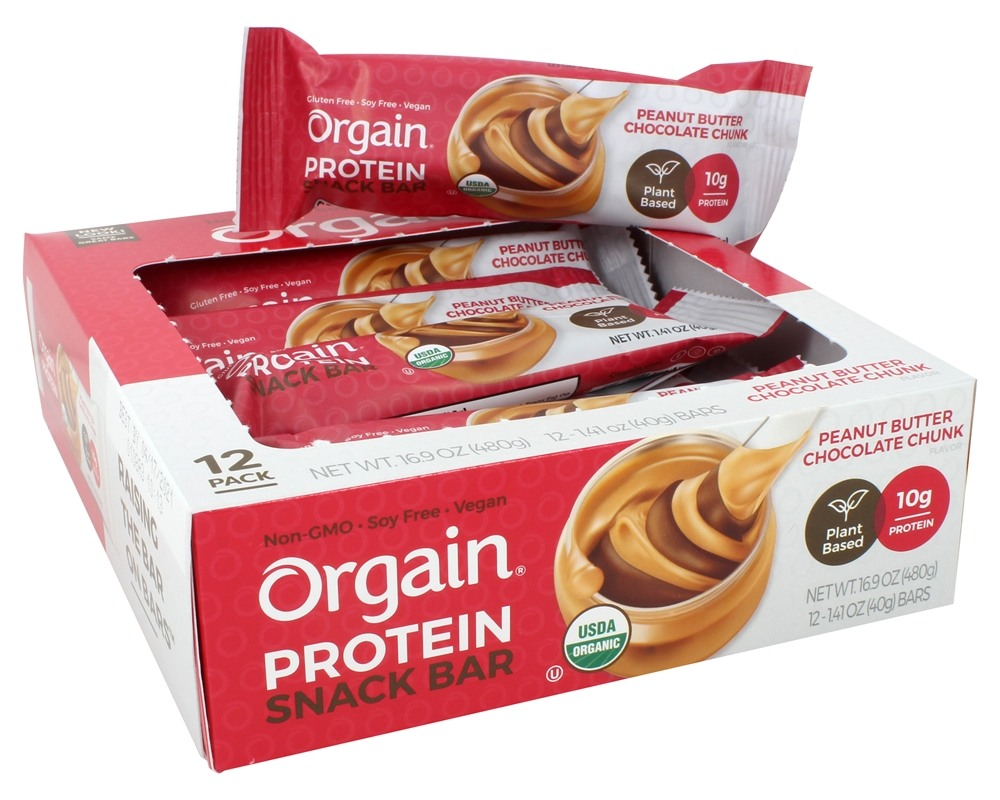 Orgain - Organic Protein Plant Based Bar Peanut Butter Chocolate Chunk - 12 Bars