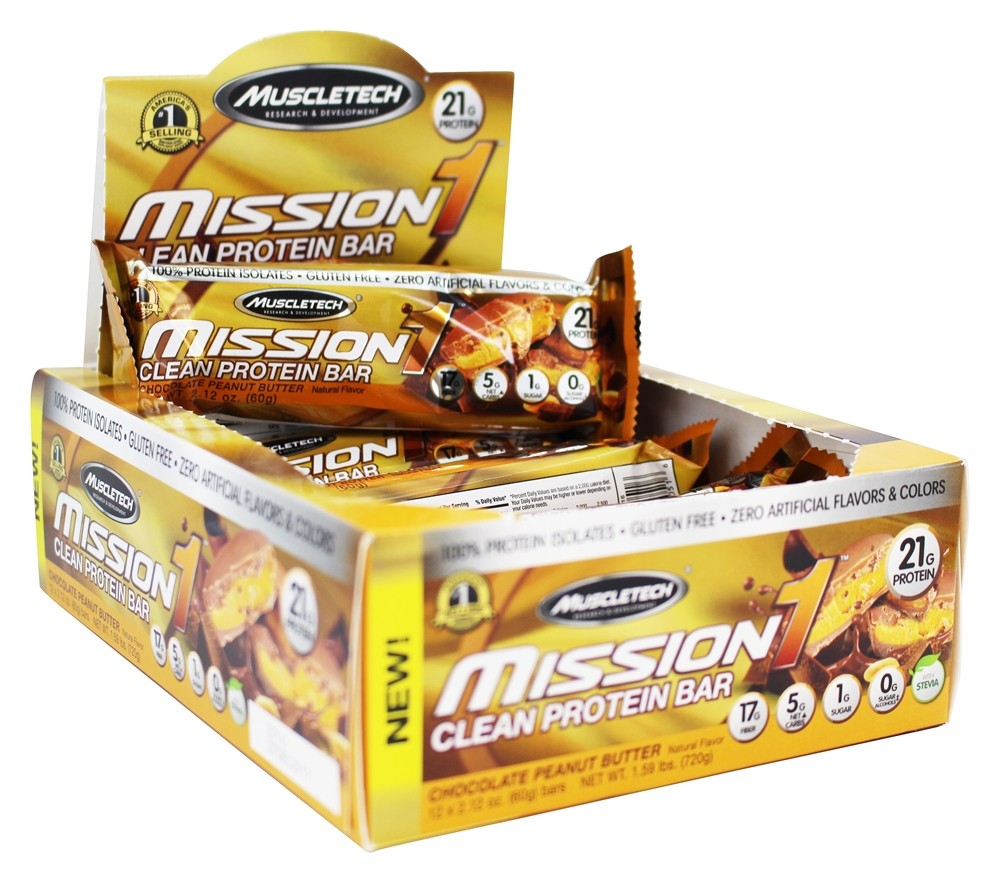 Muscletech Products - Mission1 Clean Protein Bars Box Chocolate Peanut Butter - 12 Bars