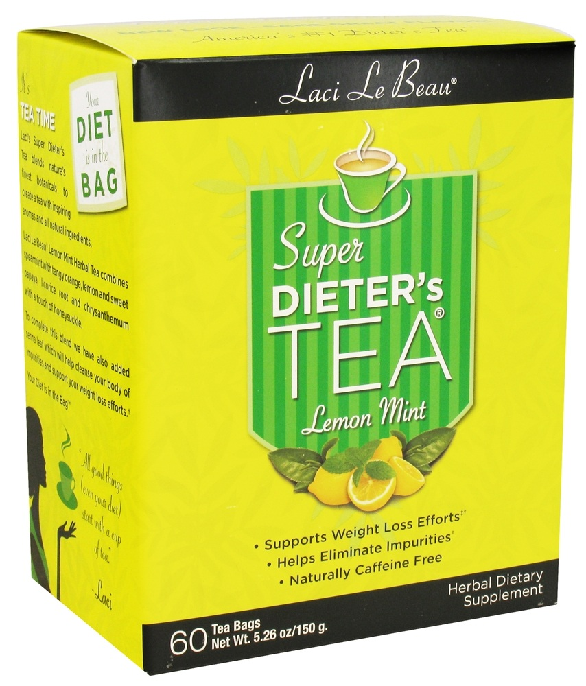 Laci Le Beau - Super Dieter's Tea Lemon Mint Caffeine Free - 60 Tea Bags