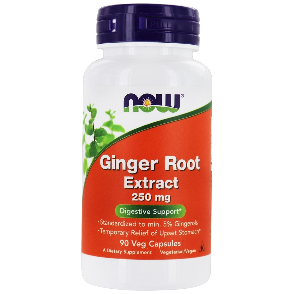 NOW Foods - Ginger Root Extract 250 mg. - 90 Vegetarian Capsules