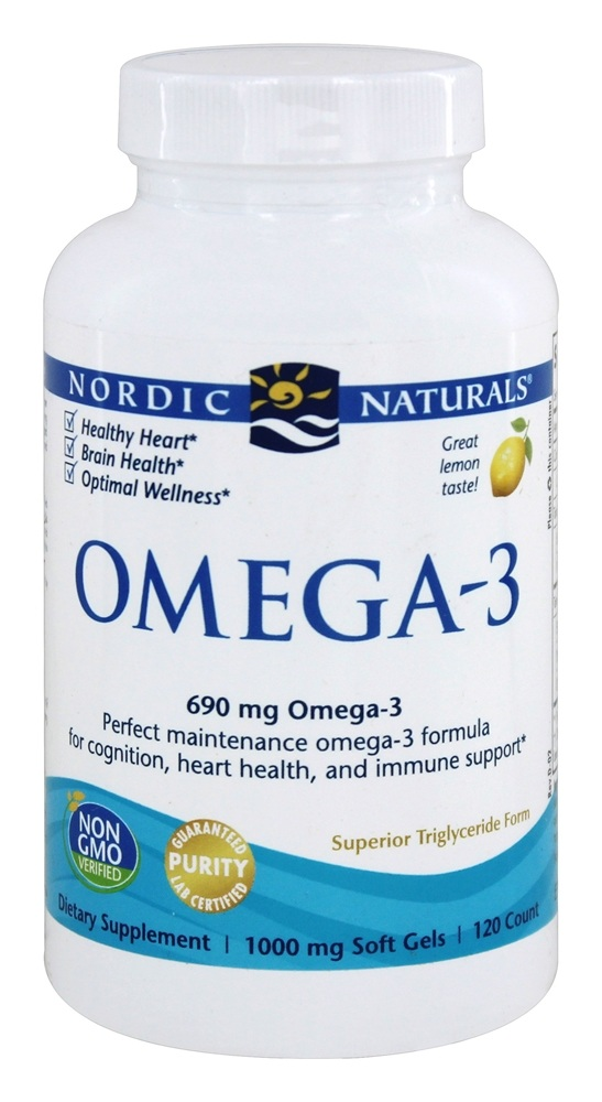 Nordic Naturals - Omega-3 Formula Purified Fish Oil Lemon 1000 mg. - 120 Softgels