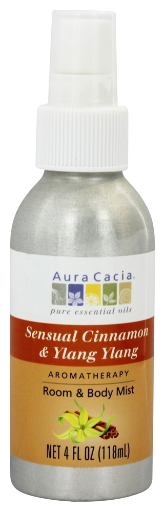 Aura Cacia - Aromatherapy Mist For Room and Body Cinnamon & Ylang Ylang - 4 oz.