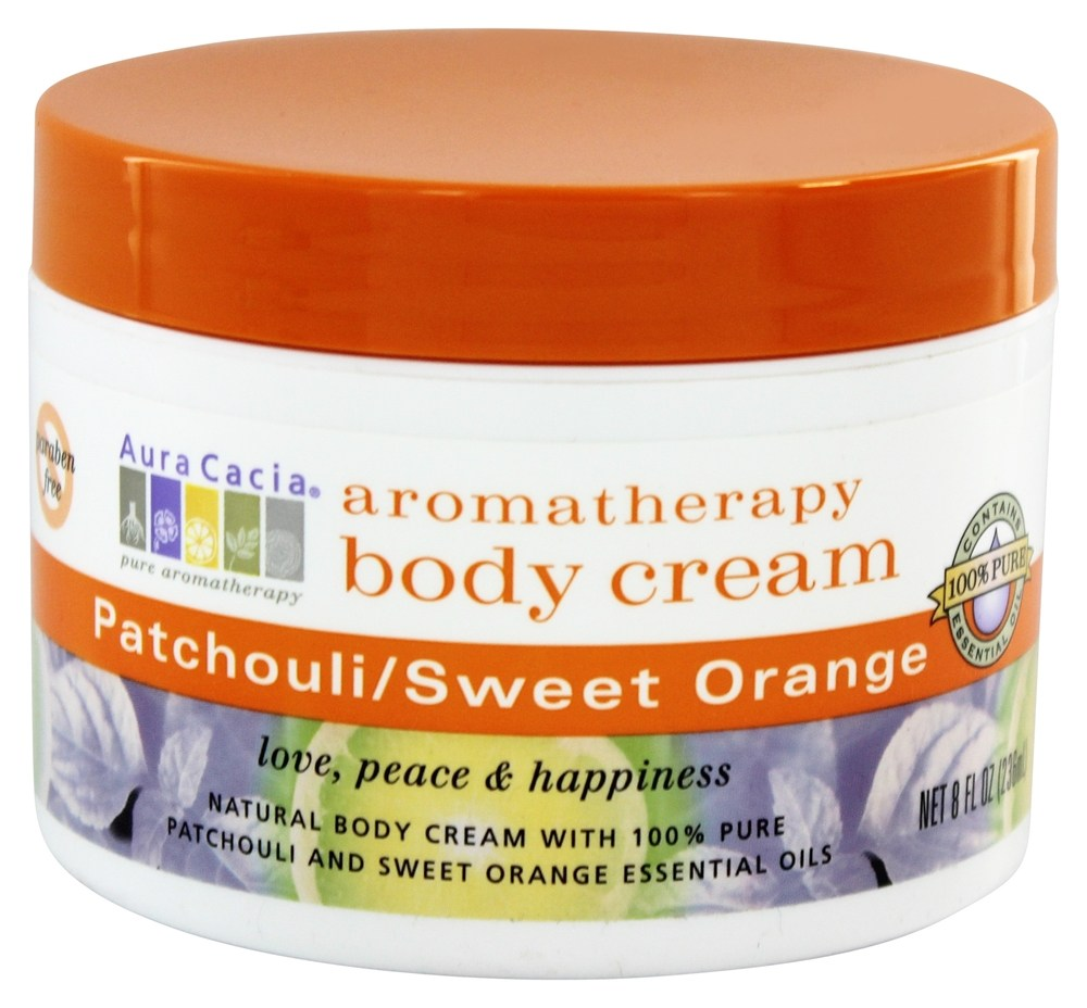 Aura Cacia - Aromatherapy Body Cream Patchouli & Sweet Orange - 8 oz.