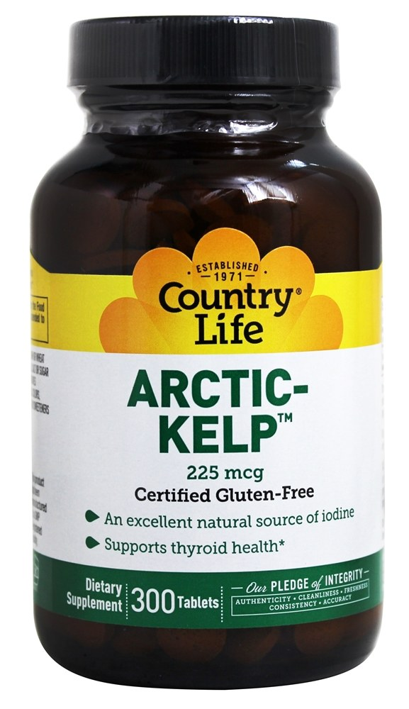 Country Life - Norwegian Kelp Trace Mineral Supplement 225 mcg. - 300 Tablets