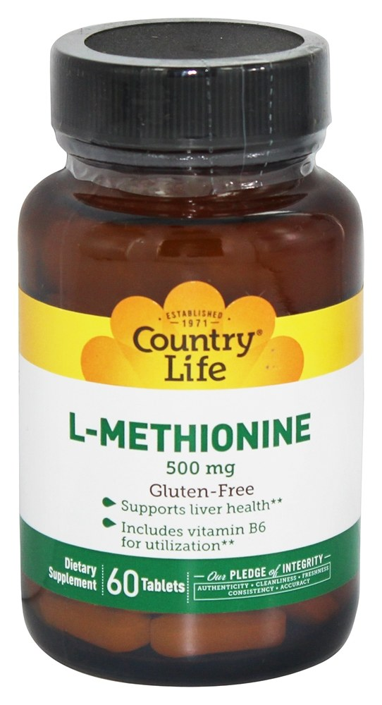Country Life - L-Methionine Free Form Amino Acid Supplement with B-6 500 mg. - 60 Tablets