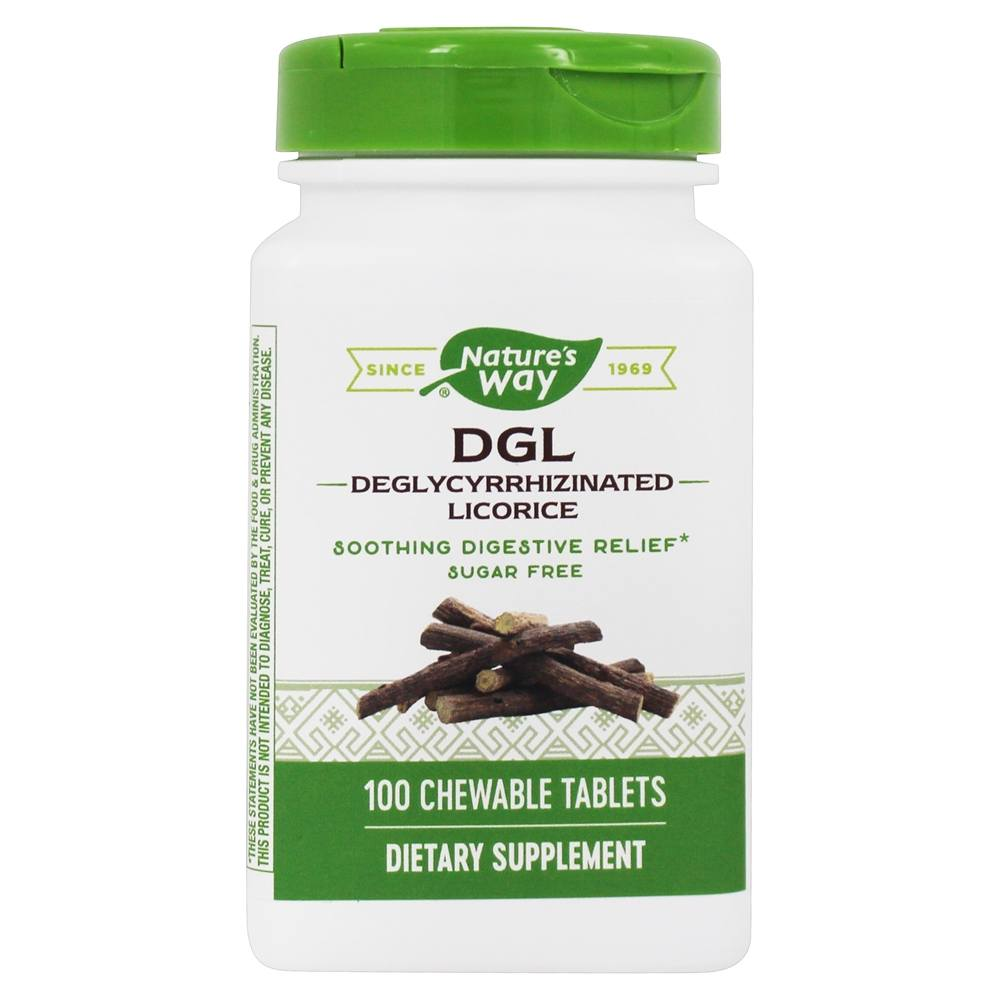 Enzymatic Therapy - DGL Fructose Free Sugarless Deglycyrrhizinated Licorice - 100 Chewable Tablets