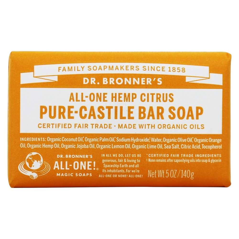 Dr. Bronners - Magic Pure-Castile Bar Soap Organic Citrus Orange - 5 oz.