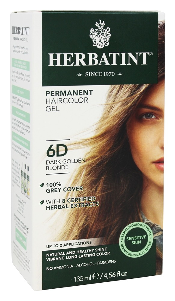 Herbatint - Herbal Haircolor Permanent Gel 6D Dark Golden Blonde - 4.5 oz.