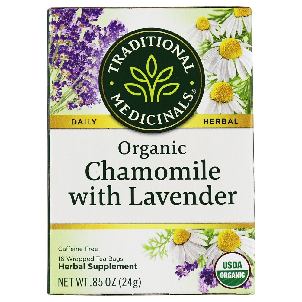 Traditional Medicinals - Organic Chamomile Tea with Lavender - For Nervous Stomach - 16 Tea Bags