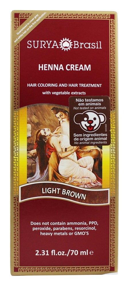 Surya Brasil - Henna Cream Hair Coloring with Organic Extracts Light Brown - 2.31 oz.