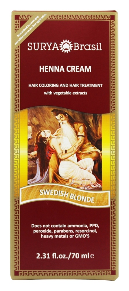 Surya Brasil - Henna Cream Hair Coloring with Organic Extracts Swedish Blonde - 2.31 oz.