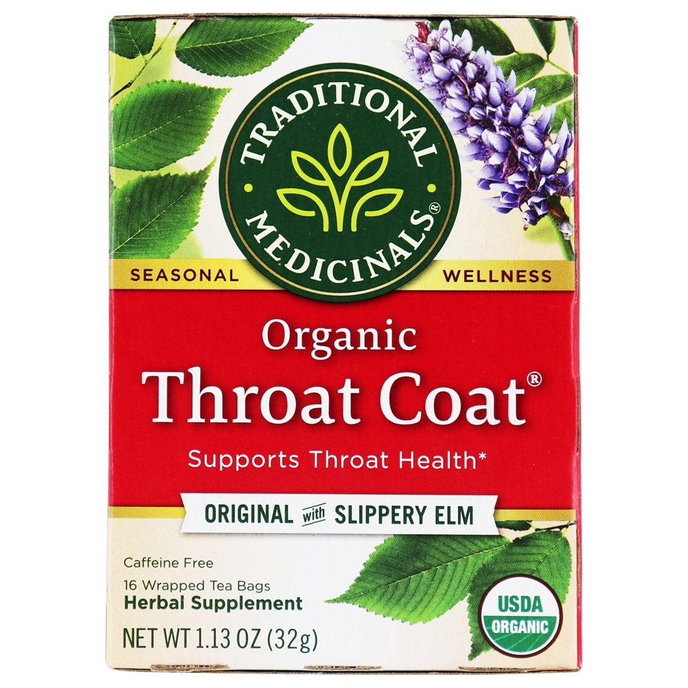 Traditional Medicinals - Organic Throat Coat Tea - Supports Throat Health - 16 Tea Bags