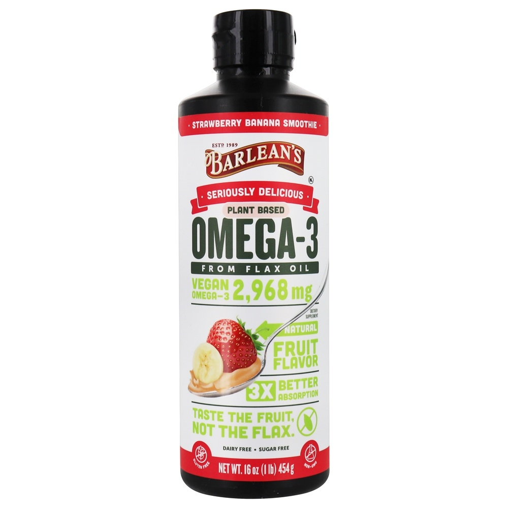 Barlean's - Omega Swirl Omega-3 Flax Oil Strawberry Banana - 16 oz.