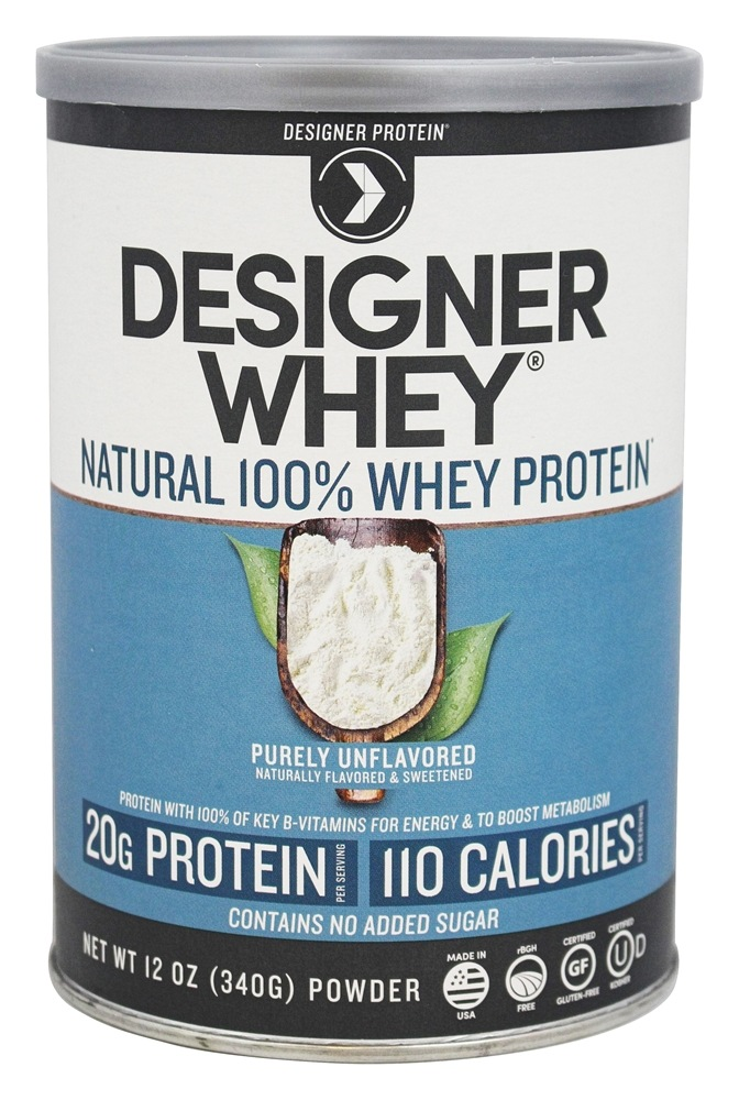 Designer Protein - Designer Whey Natural 100% Whey-Based Protein Powder Purely Unflavored - 12 oz.
