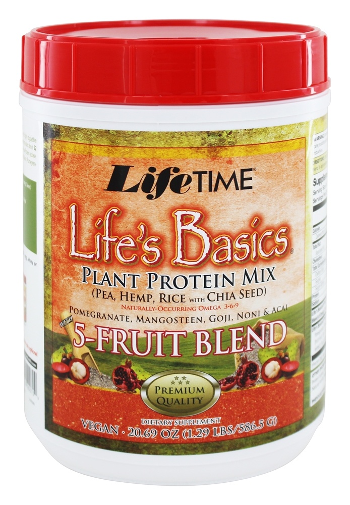 LifeTime Vitamins - Life's Basics Plant Protein Powder with 5 Fruit Blend - 21.6 oz.
