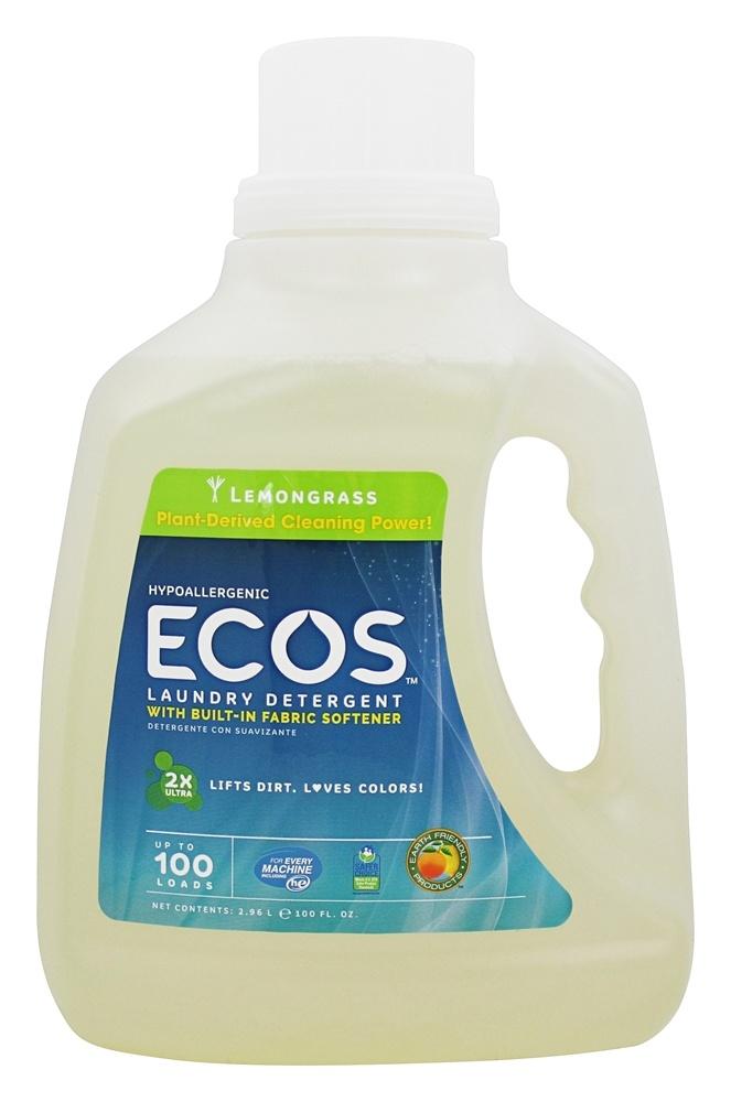 Earth Friendly - ECOS Hypoallergenic Laundry Detergent with Built-In Fabric Softeners Lemongrass - 100 oz.