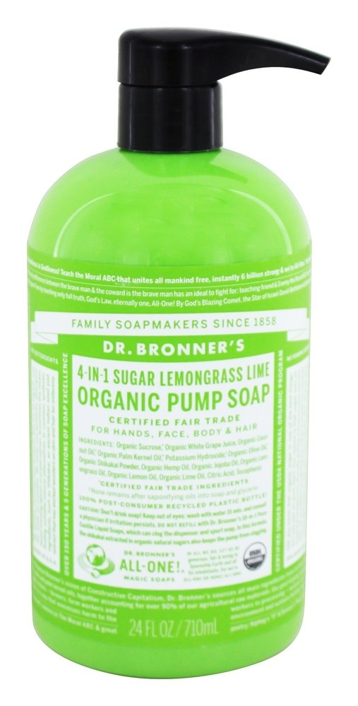 Dr. Bronners - 4-in-1 Organic Pump Soap Sugar Lemongrass Lime - 24 oz. Formerly Magic Shikakai