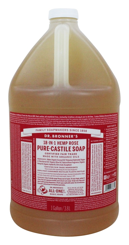 Dr. Bronners - Magic Pure-Castile Soap Organic Rose - 128 oz. - 1 Gallon