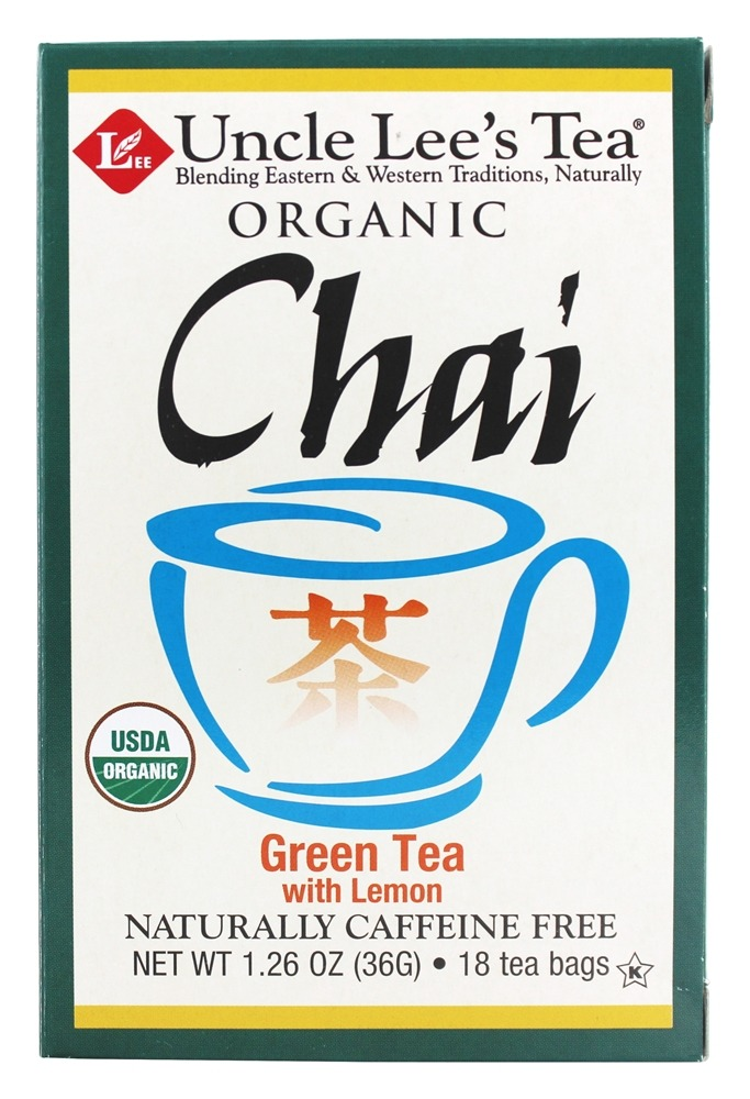 Uncle Lee's Tea - 100% Organic Chai Green Tea Low Caffeine with Lemon - 18 Tea Bags