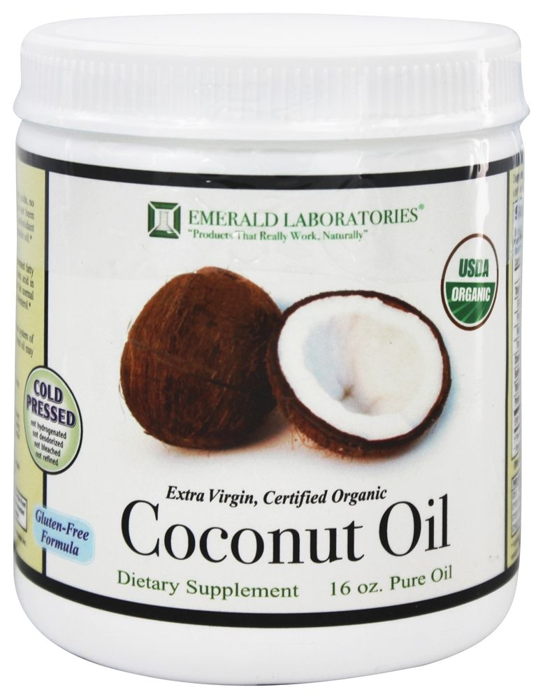 Emerald Labs - Certified Organic Extra Virgin Pure Coconut Oil - 16 oz.