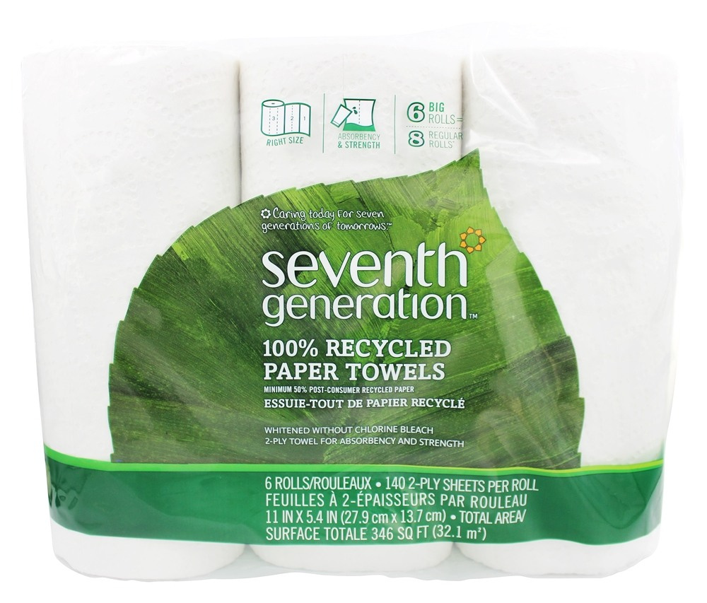Seventh Generation - Paper Towels 100% Recycled White 2-Ply 140 Sheets - 6 Roll(s)