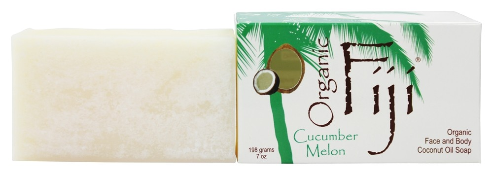 Organic Fiji - Face and Body Coconut Oil Bar Soap Cucumber Melon - 7 oz.