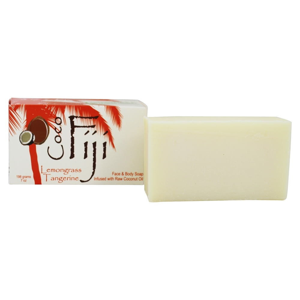 Organic Fiji - Face and Body Coconut Oil Bar Soap Lemongrass Tangerine - 7 oz.