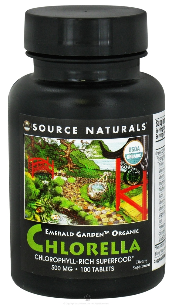 Source Naturals - Emerald Garden Organic Chlorella Chlorophyll-Rich Superfood 500 mg. - 100 Tablets