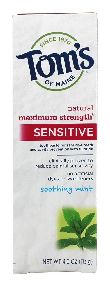 Tom's of Maine - Natural Toothpaste Sensitive Maximum Strength With Fluoride Soothing Mint - 4 oz.
