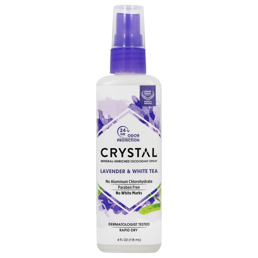 Crystal Body Deodorant - Crystal Essence Mineral Deodorant Body Spray By French Transit Lavender & White Tea - 4 oz.