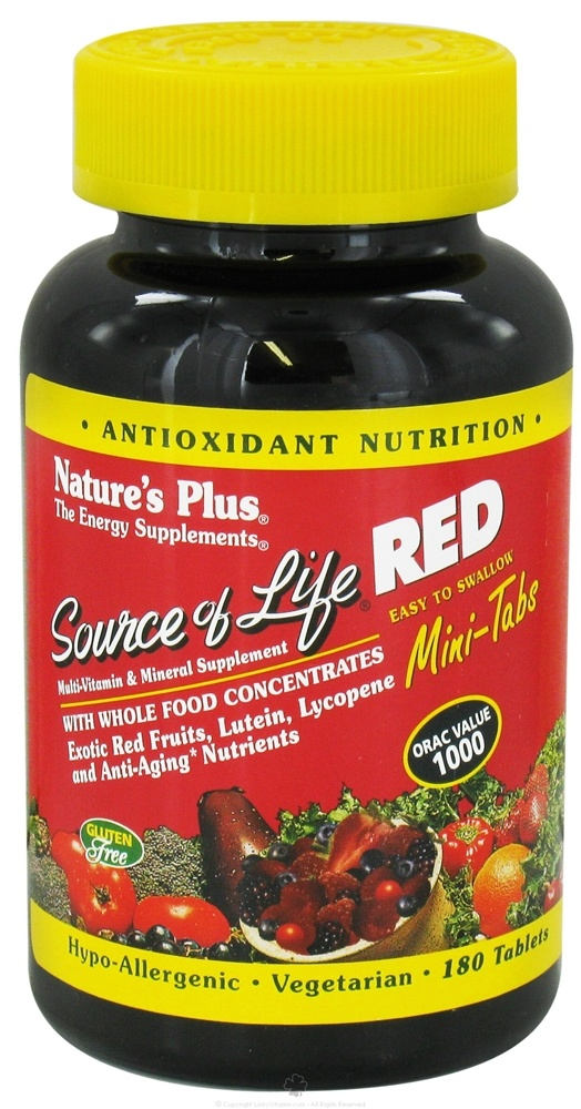 Nature's Plus - Source of Life Red Multi-Vitamin & Mineral Mini-Tabs - 180 Tablets