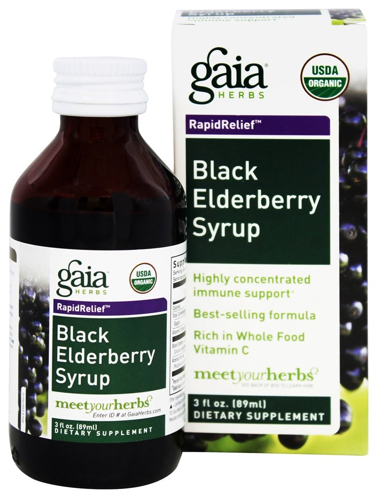 Gaia Herbs - Rapid Relief Immune Support Black Elderberry Syrup - 3 oz.