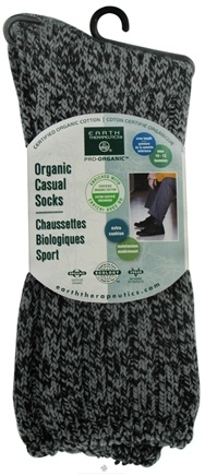 DROPPED: Earth Therapeutics - Organic Casual Socks Men's Size 10-13 Charcoal Black - CLEARANCE PRICED