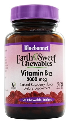 Bluebonnet Nutrition - Earth Sweet Chewable Vitamin B-12 Natural Raspberry Flavor 2000 mcg. - 90 Chewable Tablets