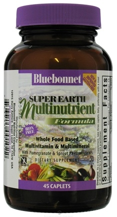 DROPPED: Bluebonnet Nutrition - Super Earth Multinutrient Formula Iron Free - 45 Caplets CLEARANCE PRICED