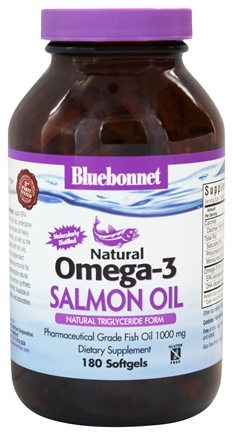 Bluebonnet Nutrition - Natural Omega-3 Salmon Oil Pharmaceutical Grade 1000 mg. - 180 Softgels