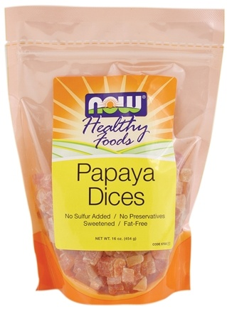 DROPPED: NOW Foods - Healthy Foods Dices Papaya - 16 oz. CLEARANCE PRICED