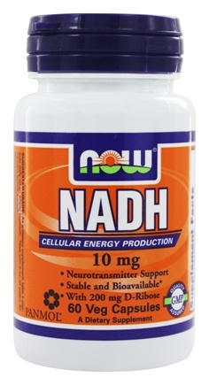 NOW Foods - NADH With 200 mg D-Ribose 10 mg. - 60 Vegetarian Capsules